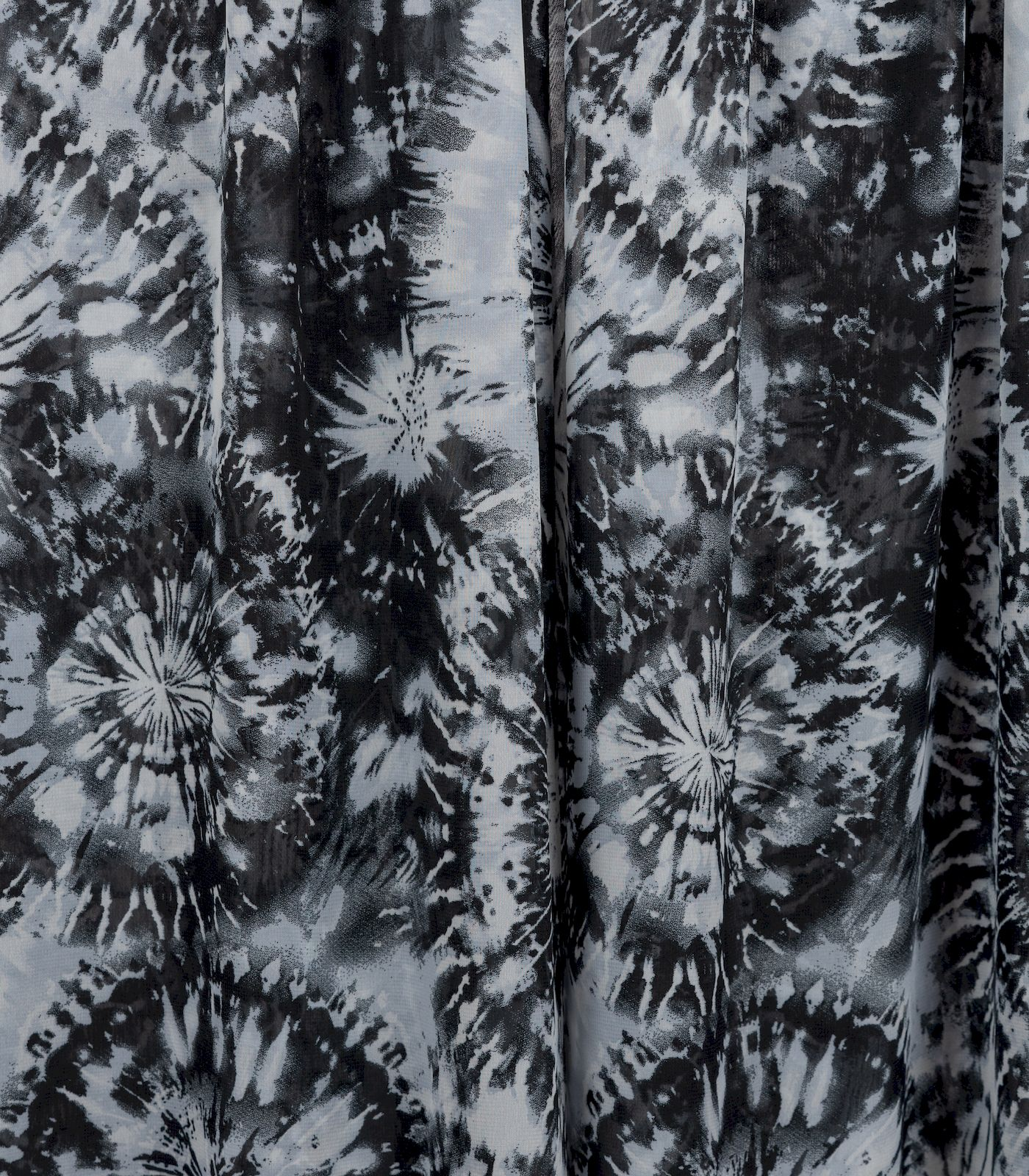 Black/Grey/White Sheer Tie-Dye/Circles Chiffon