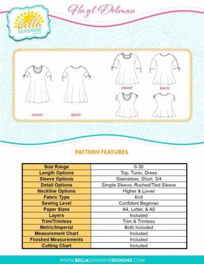 Bella Sunshine Designs Hazel Dolman Sewing Pattern