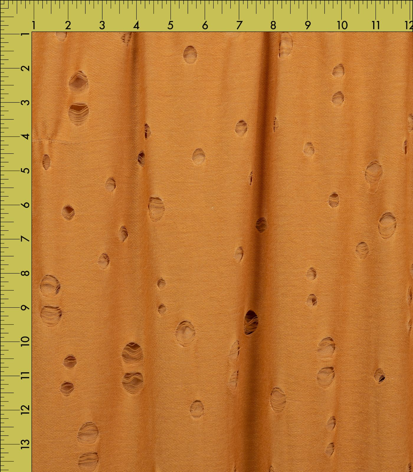 Heathered Yellow Distressed Solid French Terry Rayon
