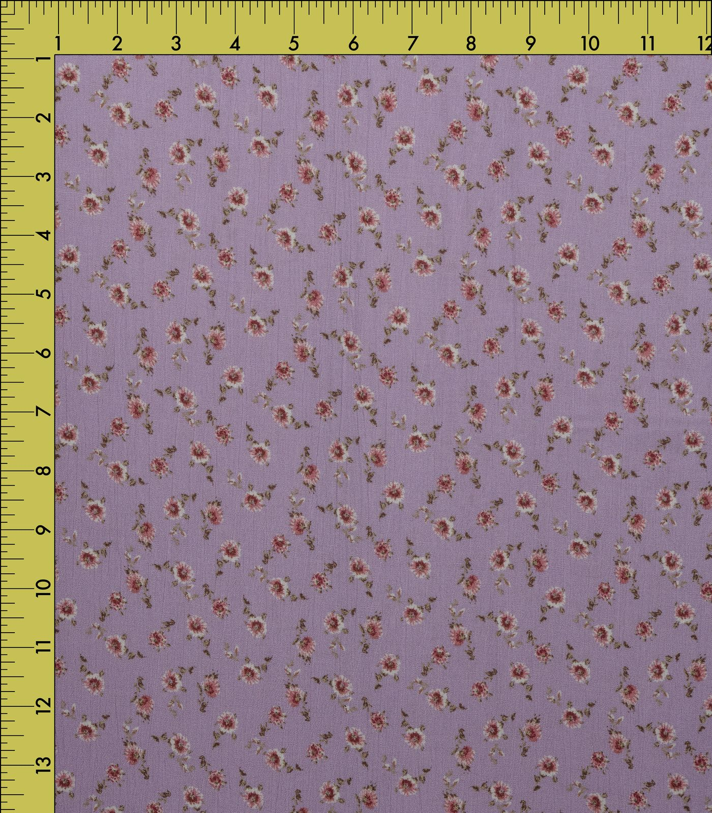 Lilac/Red Small Floral Rayon Crepe