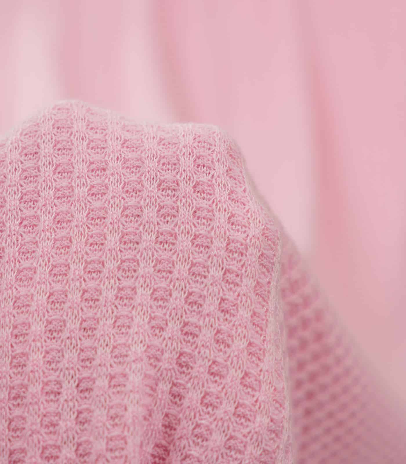 Pink Solid Waffle Knit
