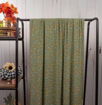 Sage/Mustard Small Floral Ribbed Knit
