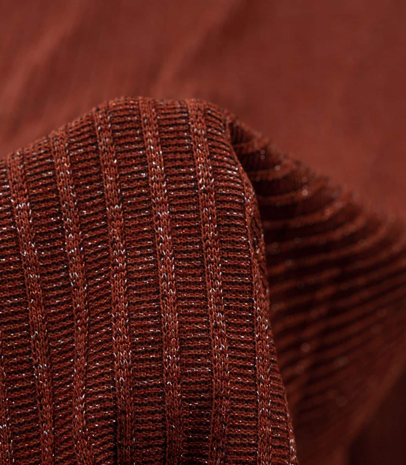 Rust Shimmer Solid Ribbed Sweater Knit