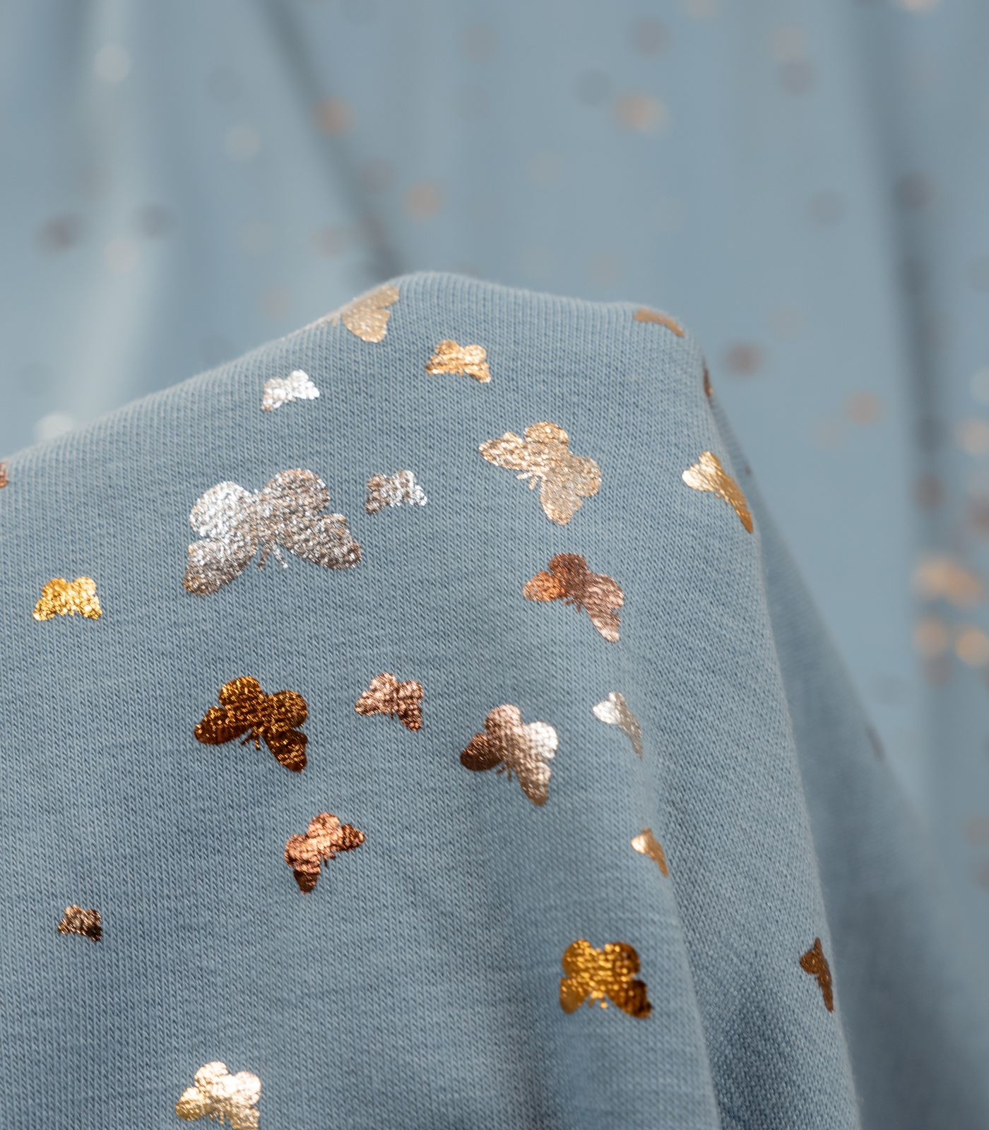 Light Blue Two Toned Foil Butterflies French Terry Rayon