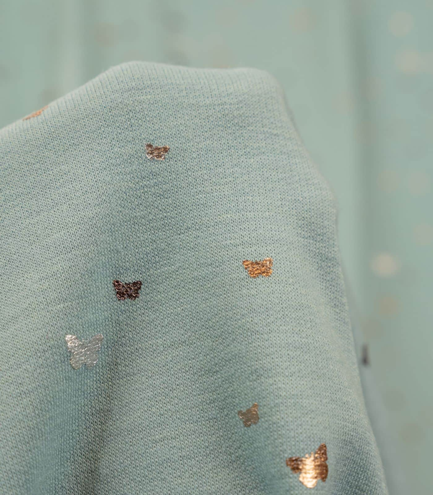 Sage Two Toned Foil Butterflies French Terry Rayon