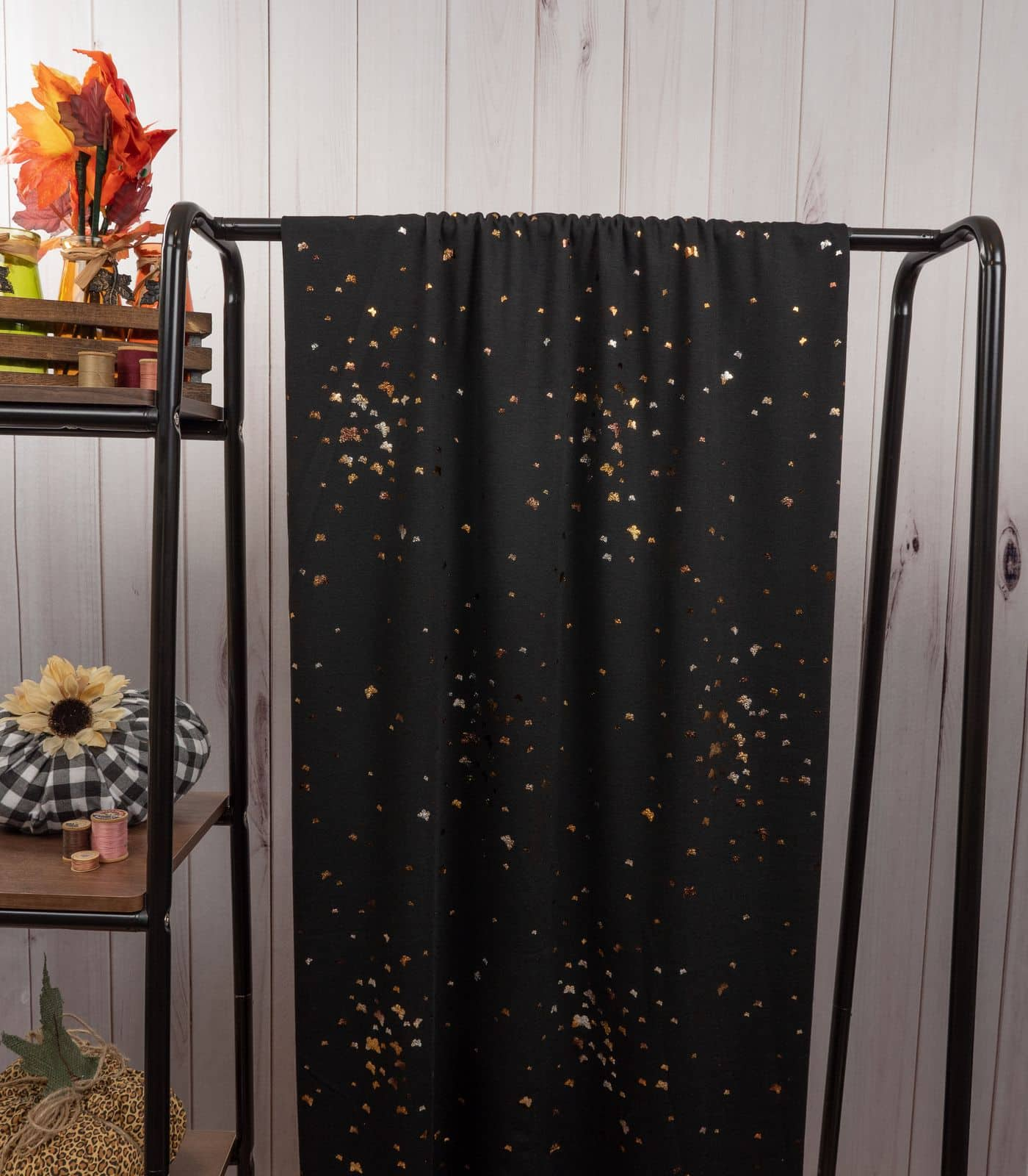 Black Two Toned Foil Butterflies French Terry Rayon